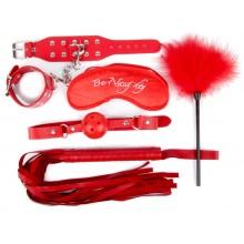 Подарочный набор для БДСМ (наручники, маска, кляп, плеть, щекоталка с пухом) красный
