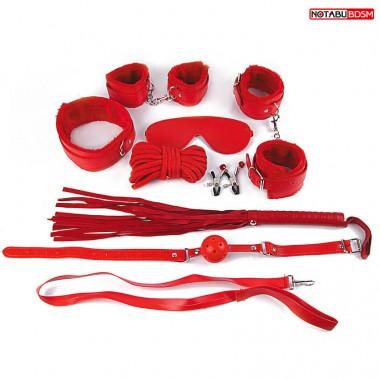 Подарочный набор для БДСМ (наручники, оковы, маска, кляп, плеть, ошейник, верёвка, зажимы) красный