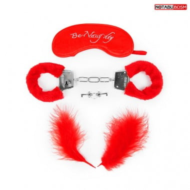 Подарочный набор для БДСМ (наручники, маска, перо) красный