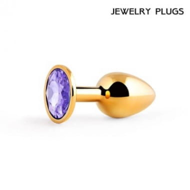 Втулка анальная металлическая маленькая, цвет кристалла светло-фиолетовый