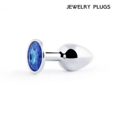 Втулка анальная металлическая маленькая, цвет кристалла синий
