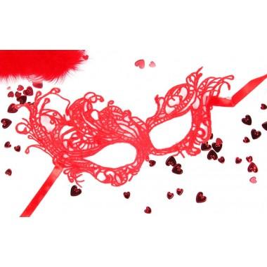 Маска ажурная МАРГО цвет красный, текстиль