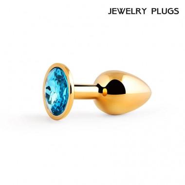 Втулка анальная маленькая цвет кристалла голубой, L 72 мм, D 28 мм, вес 50г