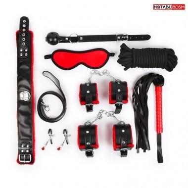 НАБОР (маска, кляп, зажимы, плётка, ошейник, наручники, оковы, верёвка) цвет красный/чёрный