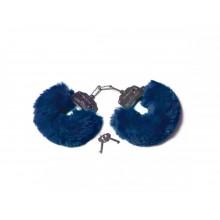 Шикарные наручники с пушистым мехом цвета тихоокеанский синий (Be Mine)