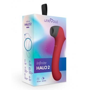 Вакуумный клиторальный стимулятор Halo 2 с вибрирующей ручкой и нагревом, цвет бордовый (INFINITE)