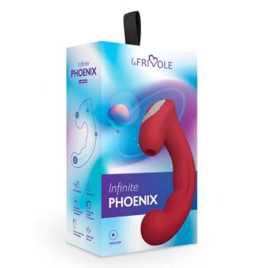 Вакуумный клиторальный стимулятор с отростком Phoenix, цвет бордовый (INFINITE)